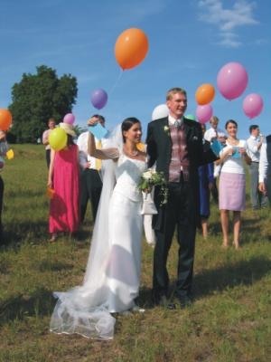 The couple with balloons